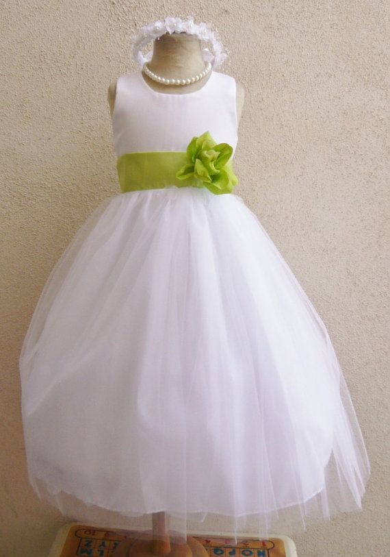 Flower Girl Dress Lime Green Yellow and White