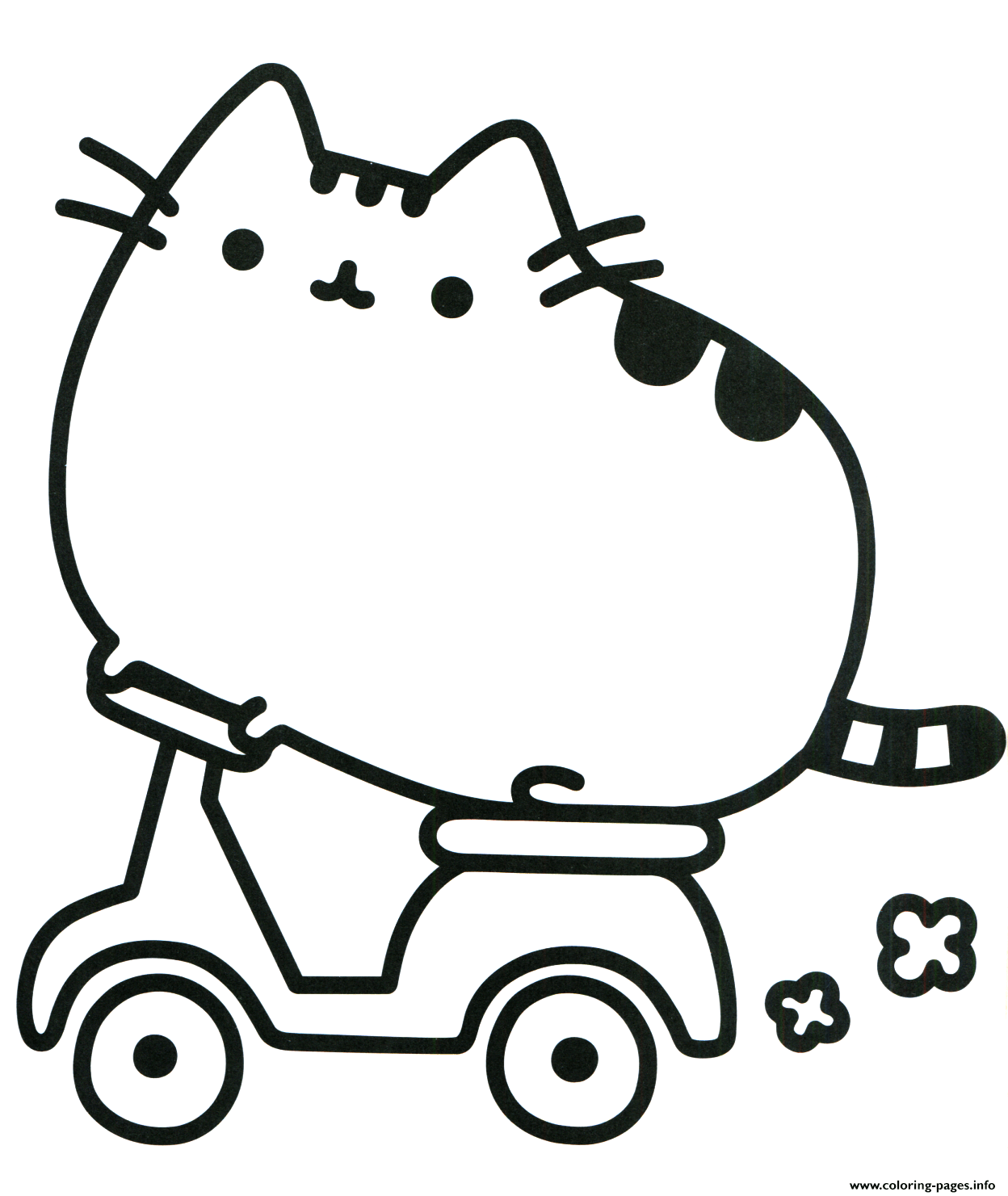 Print Pusheen Cat On Scooter Coloring Pages