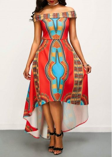 3d17544d78cee jalapeño/teal/tangelo print off-shoulder high-low dress, tanned skin,  chestlength raven tresses, asphalt sandalettos