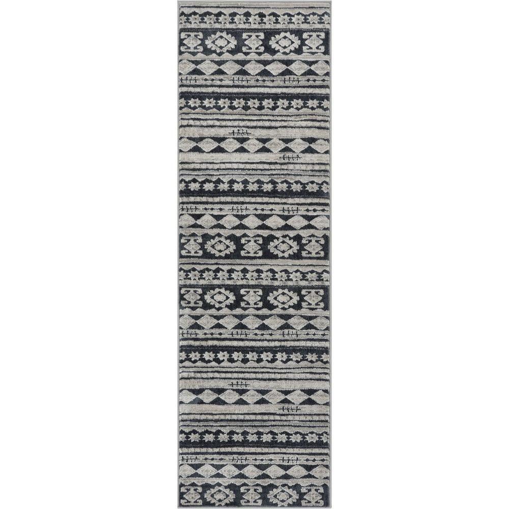 Well Woven Pearl Kanab 2 Ft 3 In X 7 Ft 3 In Midcentury Modern Tribal Geometric Soft Dark Grey Runner Rug Well Woven Gray Runner Rug Tribal Geometric