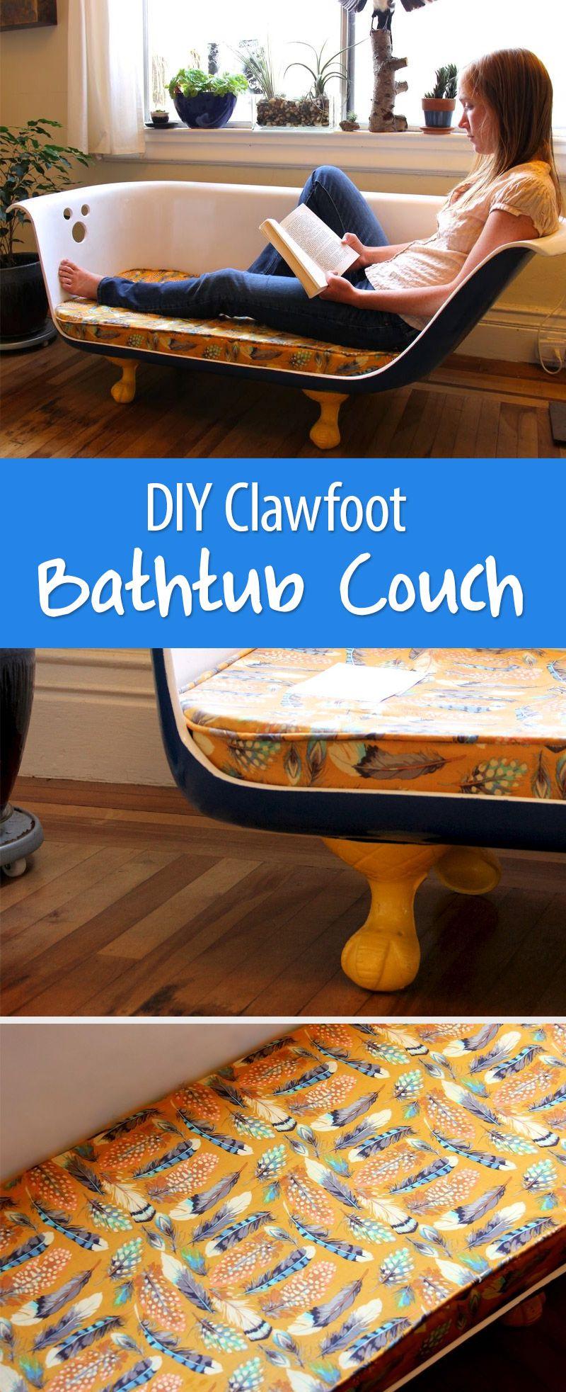 DIY Clawfoot Bathtub Couch   Clawfoot bathtub, Built in ...