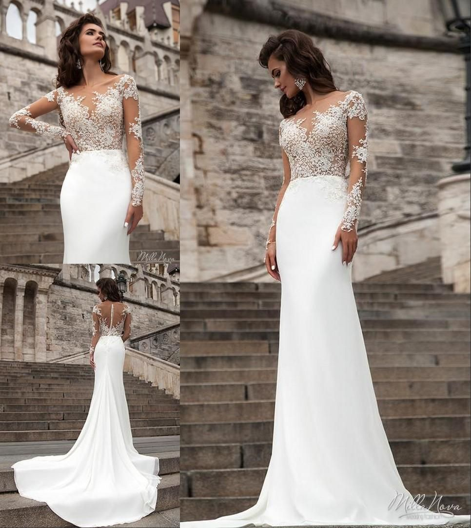 Millanova 2016 long sleeve wedding dresses mermaid scoop for Plus size trumpet wedding dress with sleeves