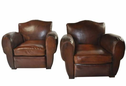 vintage leather club chairs. Pair Of Vintage Leather Club Chairs - Mecox Gardens