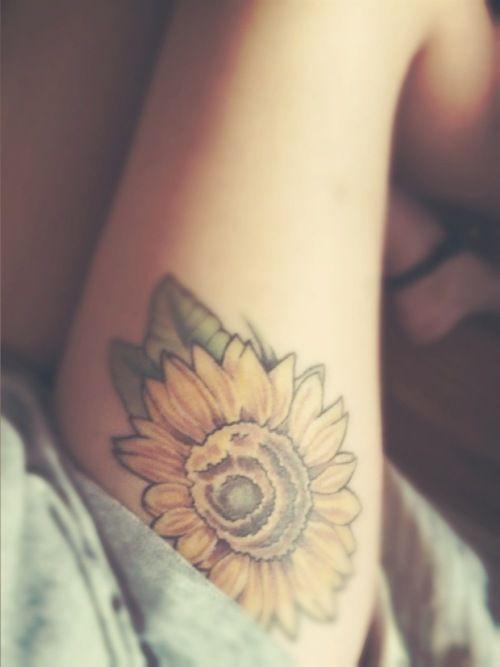 Leg sunflower tattoo