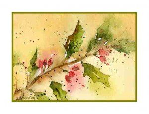 Watercolor holiday cards watercolor christmas holly for Pinturas navidenas