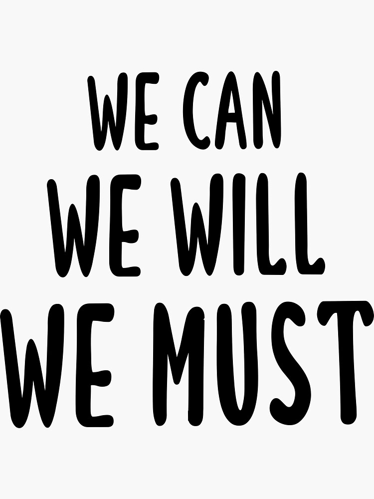 'We Can We Will We Must - Navarro Cheerleading (Black)' Sticker by quoteedesigns