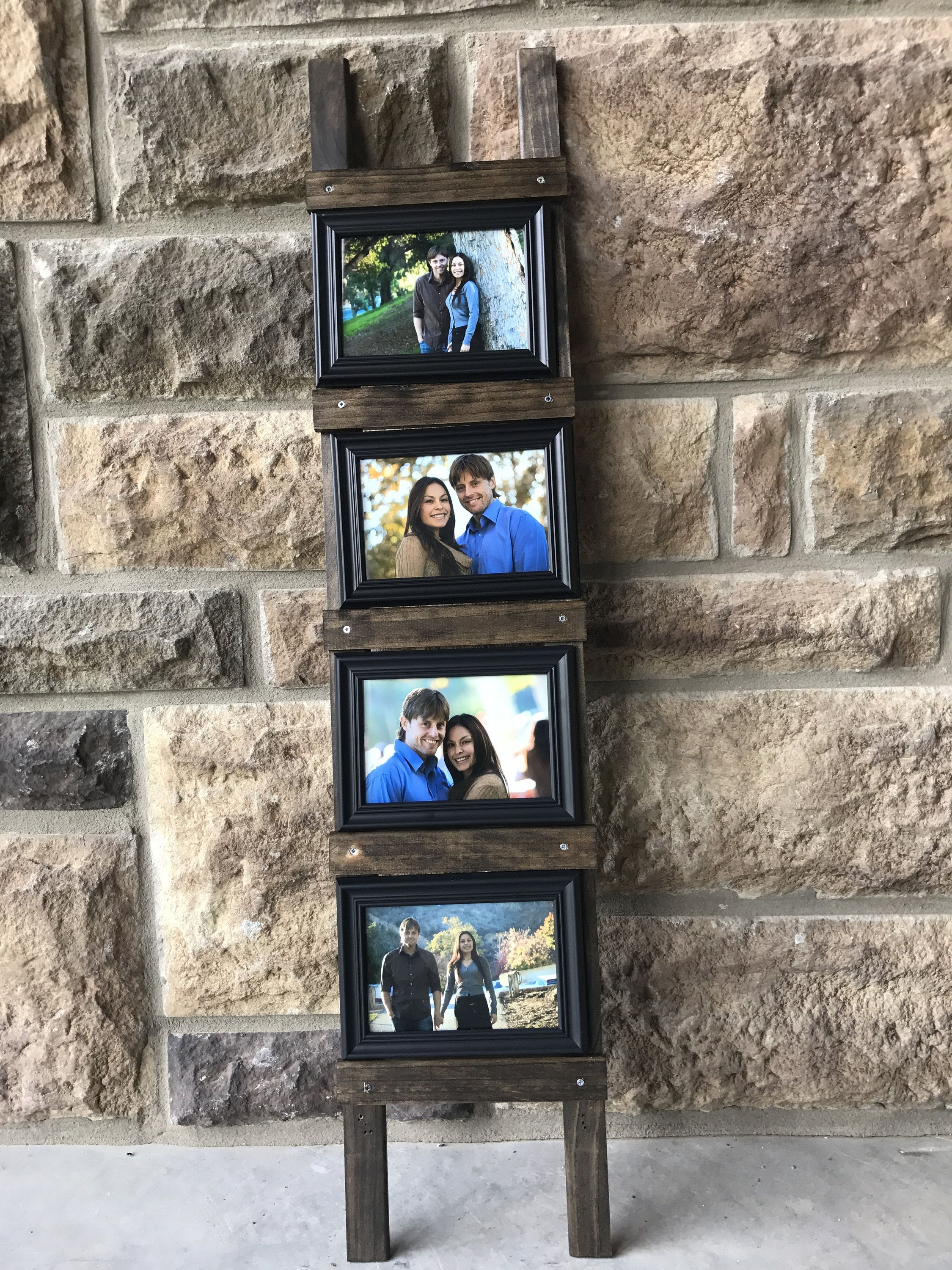 Rustic Photo Frame Ladder 45x7 Or 4x6 Frames Included Photo Etsy Rustic Photo Frames Framed Photo Collage Picture Frame Decor
