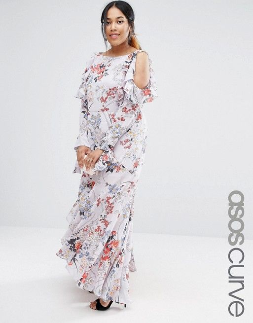Curve Cold Shoulder Long Sleeve Ruffle Maxi Dress In Gray Floral