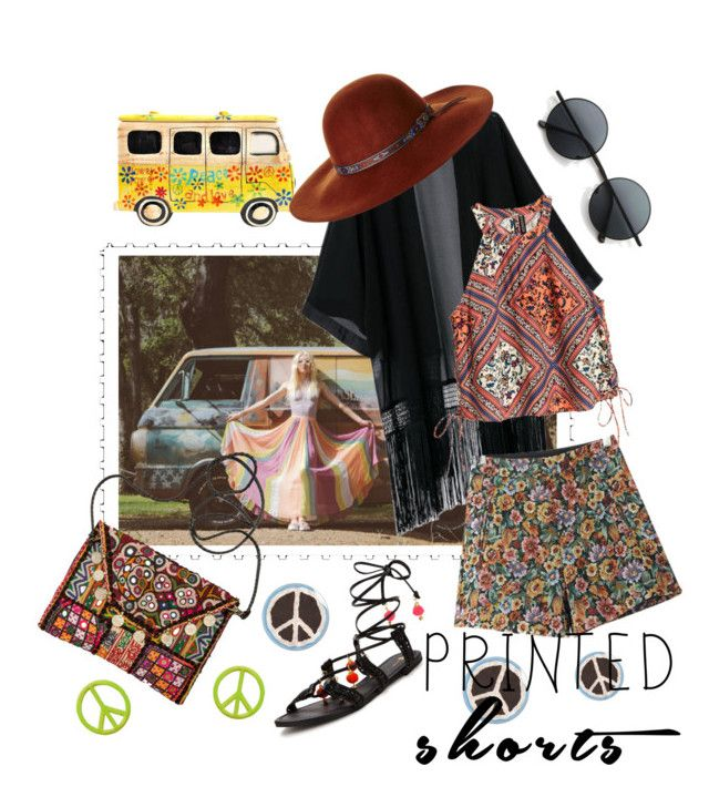 """Printed Shorts - Hippie Vibes"" by afatrustamova on Polyvore featuring Chicnova Fashion, Vintage One, Fallenbrokenstreet and printedshorts"