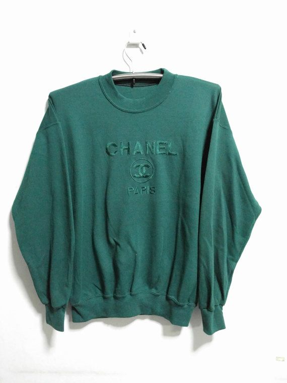 1c23e647794 vintage 80s BOOTLEG chanel paris sweater embriodered logo size L rare!!