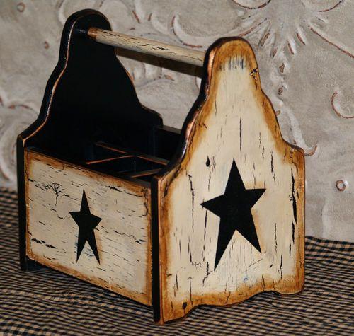 Country Farmhouse Texas Primitive Star Handpainted Silverware Holder Utensils   eBay