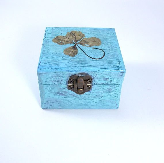 Four Leaf Clover Gift Box Good Luck Gift Wooden Box Lucky