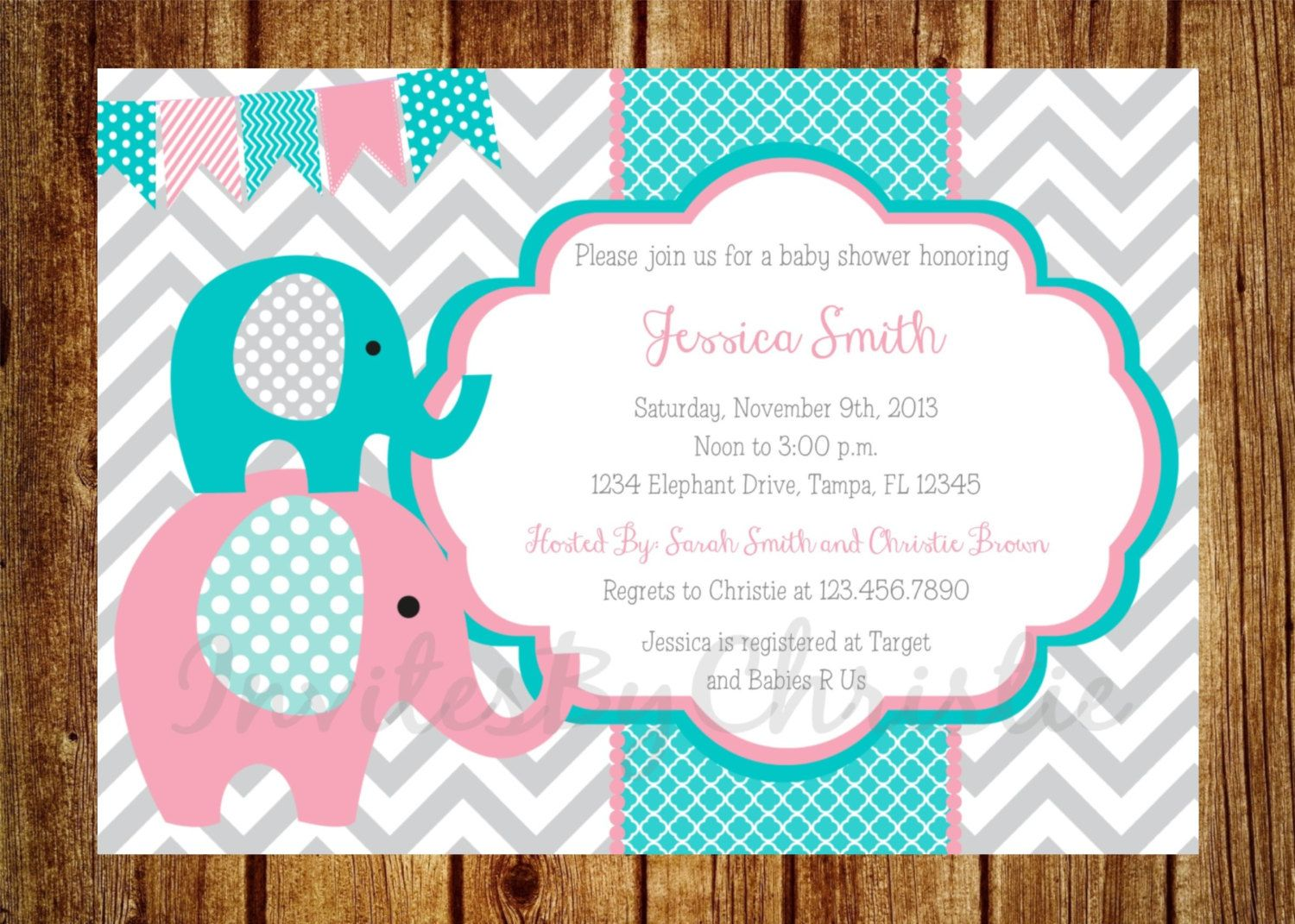 bubble gum pink dark teal and gray elephant baby shower invitation