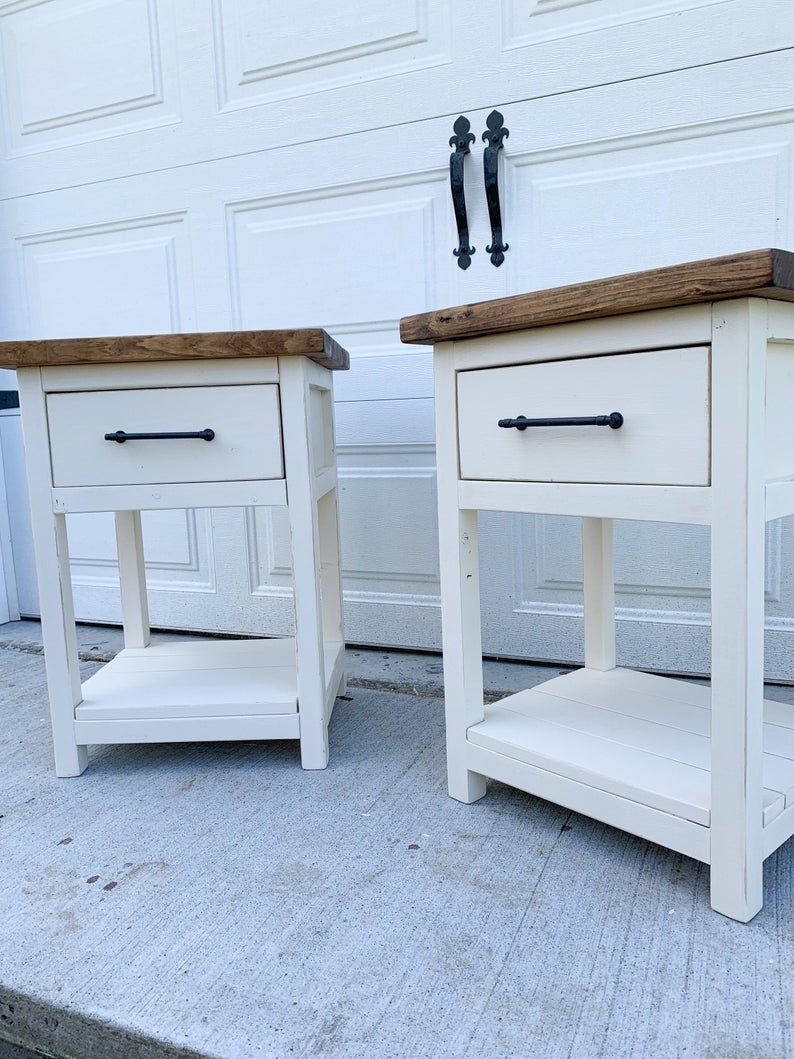 Chelsea Farmhouse Nightstand End Table w/ Drawer Rustic