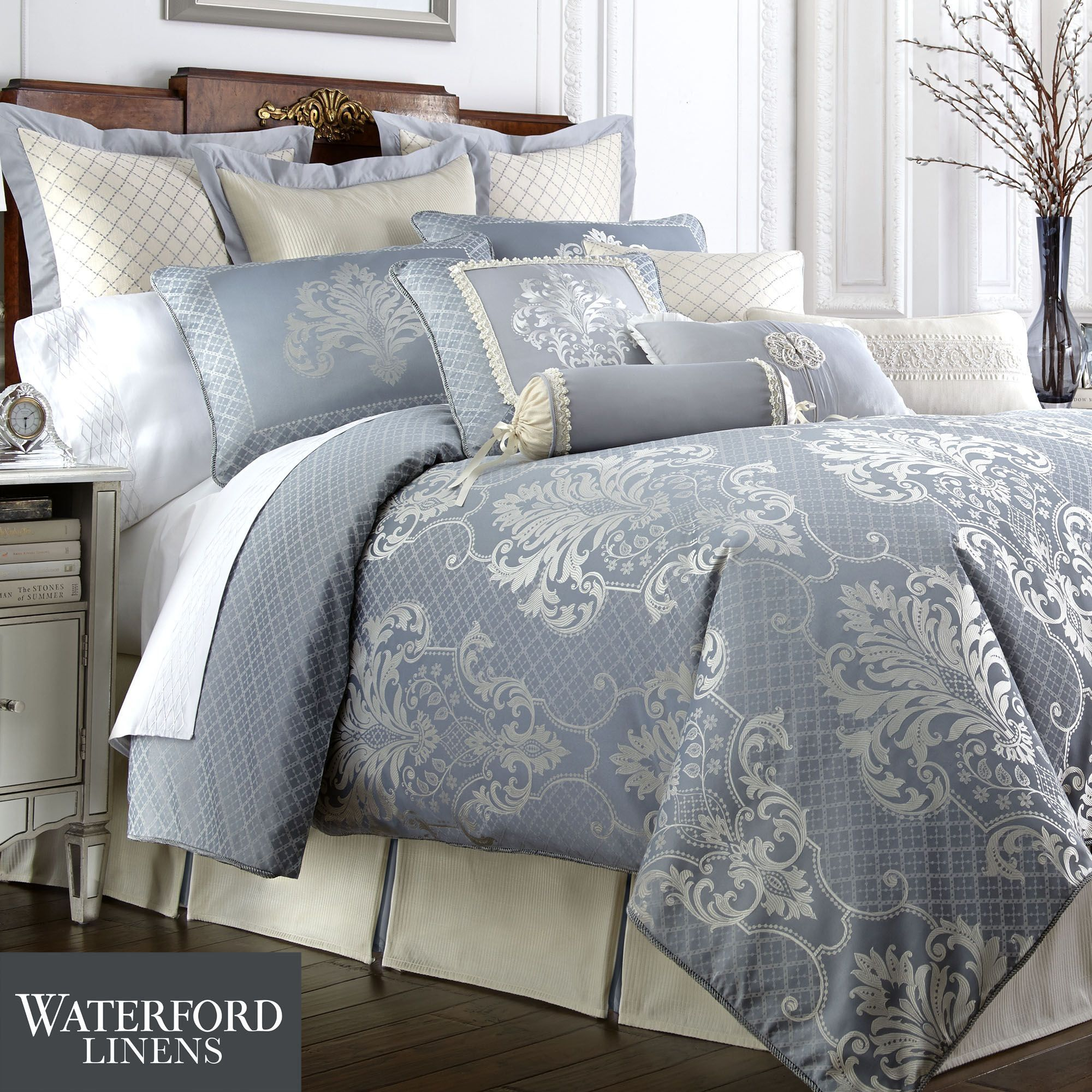Bedding Newbridge Slate Blue Comforter Bedding By Waterford