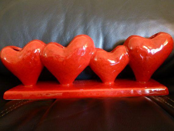 SOLD!  Glazed Ceramic Four Heart Bud Vase  Vintage by ChicAvantGarde,