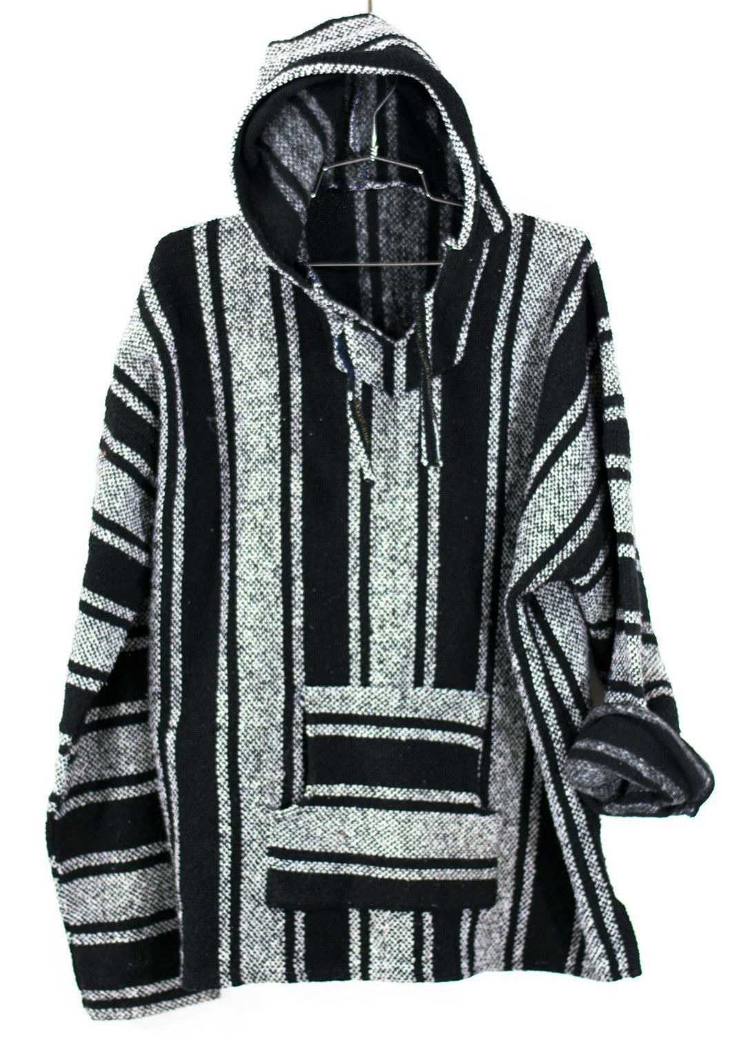 f9268550c This vintage 1990s Baja Surf Poncho Sweater, drug rug sweatshirt classic.  In multi colored stripe pattern. Unisex. 90s. Vintage.