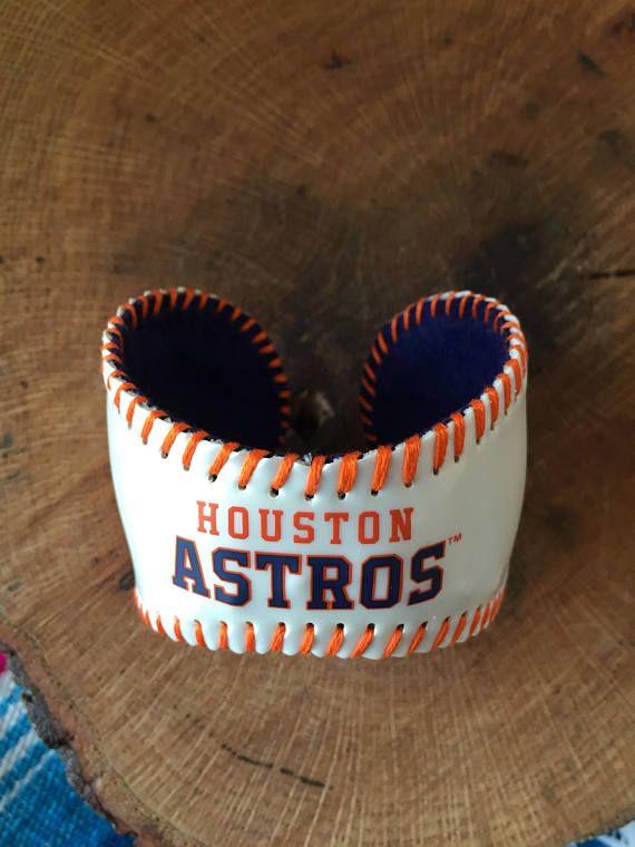 Mlb Houston Astros Baseball Bracelet Cuff White Design