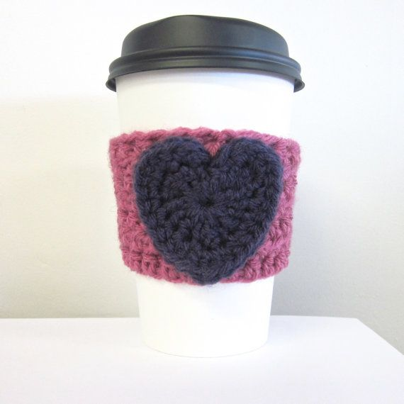 Crochet Cup Cozy Heart Coffee Cup Sleeve in Purple by Salem Style #coffee #cozy #crochet #heart