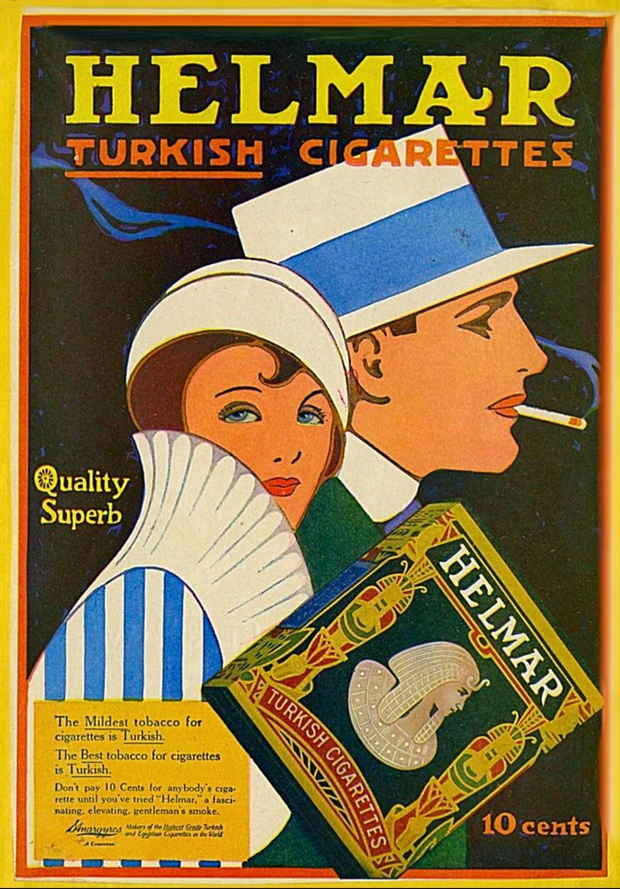 Poster Werbung Helmar Turkish Cigarettes 1915 Smoke Gets In Our Eyes