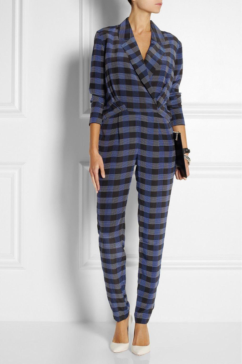 Thakoon Addition|Checked silk jumpsuit