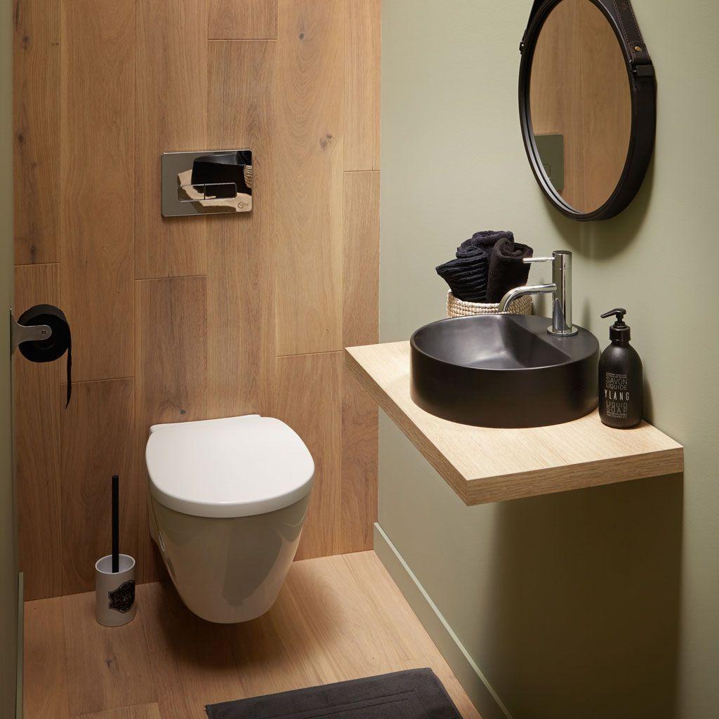 Plan De Toilette Avec Le Lave Mains En Resine Noir Lave Main Wc Deco Toilettes Amenagement Toilettes
