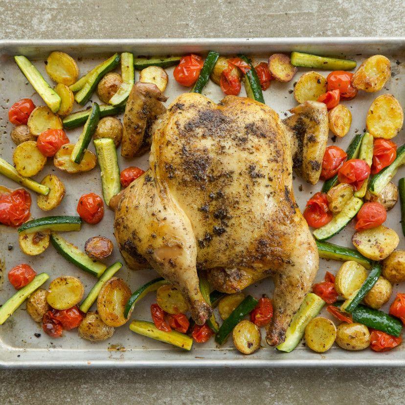 Spatchcock Chicken Sheet Pan Supper