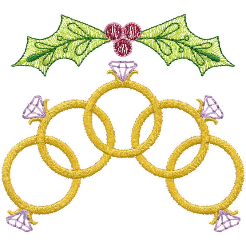 Holiday Five Golden Rings With Holly