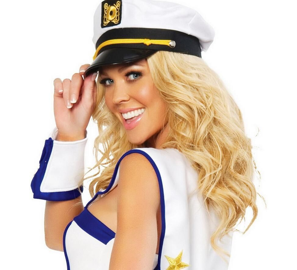 83e014c866822 Fashion Women Captain Skipper Sailor Hats Men Police White Hat Cap Costume  6L