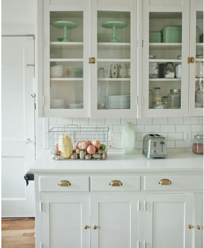 i love everything about this kitchen  love the white cabinets glass door fronts latch hardware on the upper cabinets office style pulls on the lower     pin by sandra anderson on kitchens v   pinterest   kitchens      rh   pinterest nz