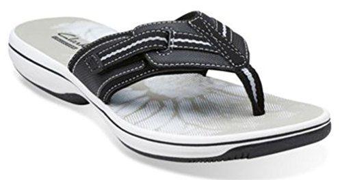 21da93eb45b528 Clarks Brinkley Jazz Womens Black Sandal Adjustable hook-and-loop closure.  Synthetic linings and printed EVA footbed.