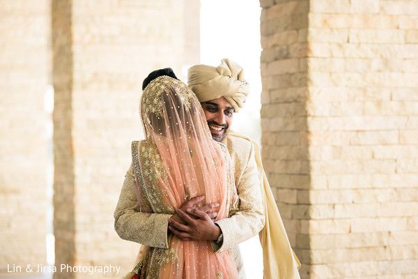 Indian couple seeing each other for the first time before wedding ceremony http://www.maharaniweddings.com/gallery/photo/99684