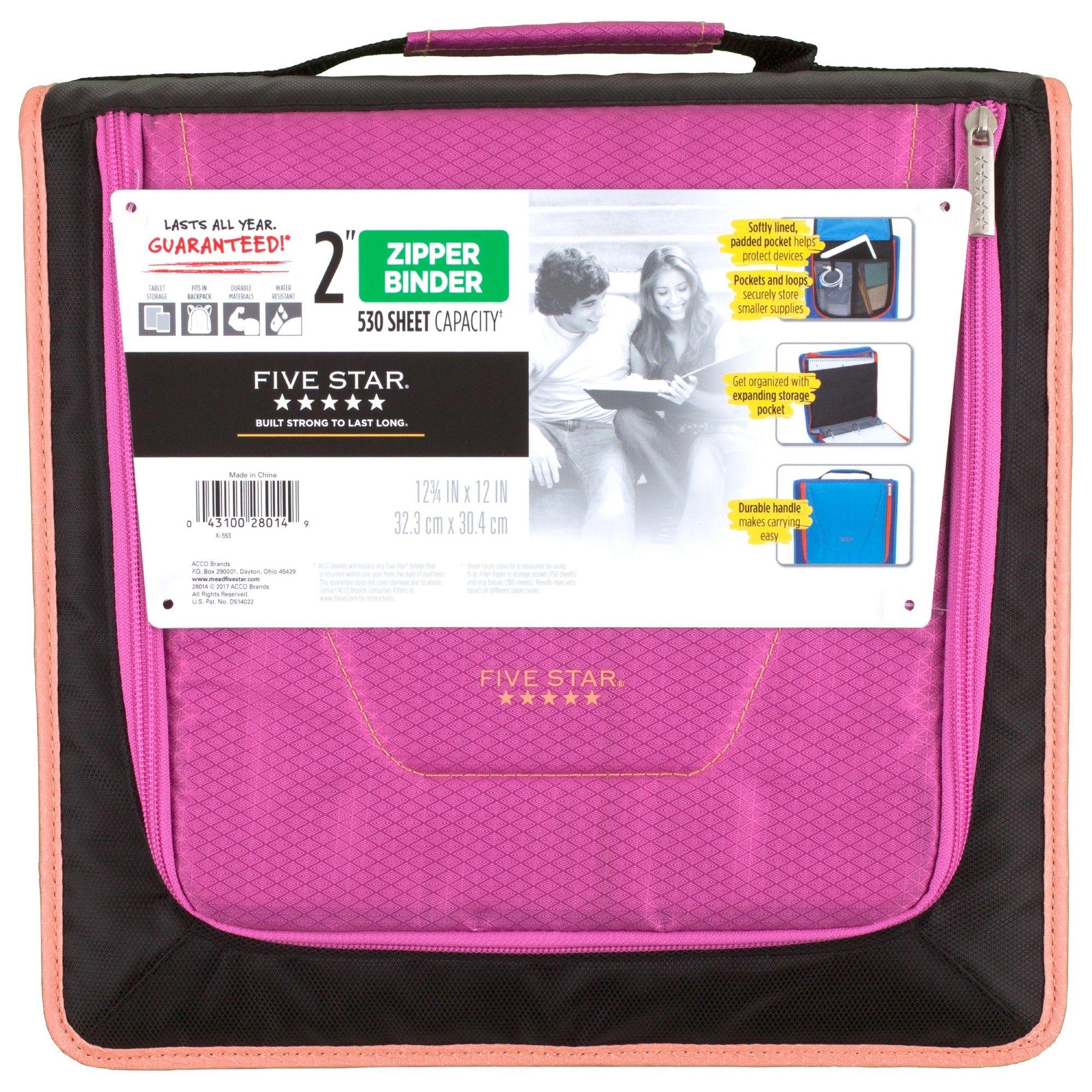 "Five Star 2"" Zipper Binder With Handle Pink"