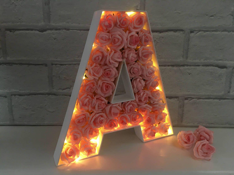 Light Up Letter Led Initial Letter With Lights Children S Bedroom Decor Led Light Up Letter Nursery Light Floral Letter Light Light Up Letters Childrens Bedroom Decor Light Letters
