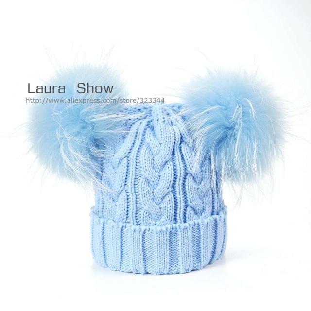 e924c6e796c LAURASHOW Baby Winter Real Mink Fur Ball Beanie Knit Hat Kids Warm Raccoon  Fur Pom Poms Skullies Beanies Wool Cap