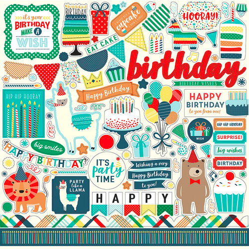 Birthday Boy Wishes Stickers 12X12-Elements
