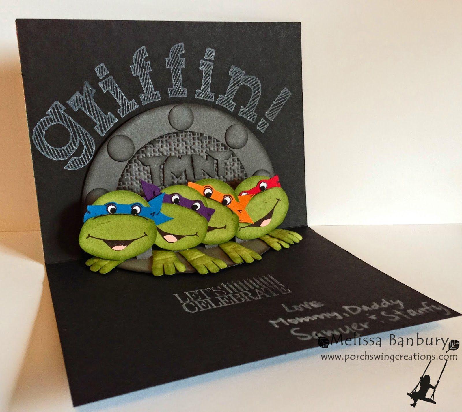 Porch Swing Creations Teenage Mutant Ninja Turtle Birthday Teenage Mutant Ninja Turtles Cards Cool Birthday Cards Punch Art Cards