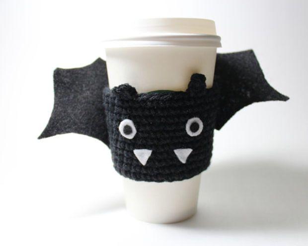 Halloween Bat Cup Sleeve Bat Coffee Cozy Halloween Crochet Coffee Sleeve Coffee Cozy Coffee Sleeve Halloween Crochet