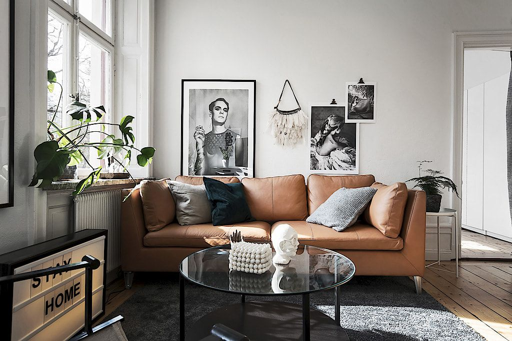 Stockholm Three Seat Sofa With Seglora Natural Leather High Back Armchair With Mosta Grey Cover And Nest Of Tables In Walnut Veneer Home Living Room Ikea