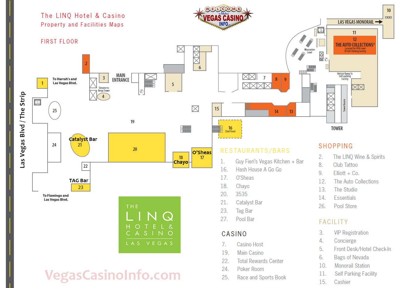 The Linq Casino Property Map And Layout Las Vegas Map Casino