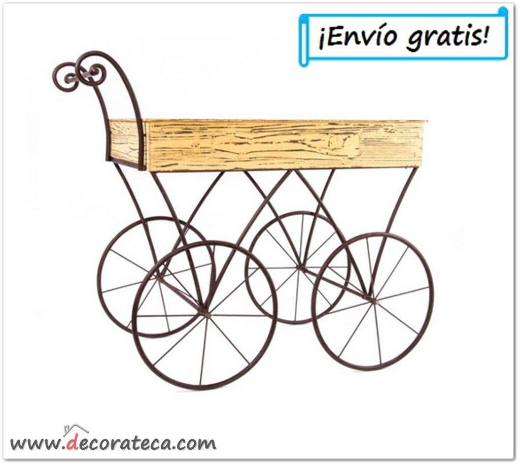 Carro de madera y metal con ruedas macetero decoraci n for Maceteros con ruedas de coche