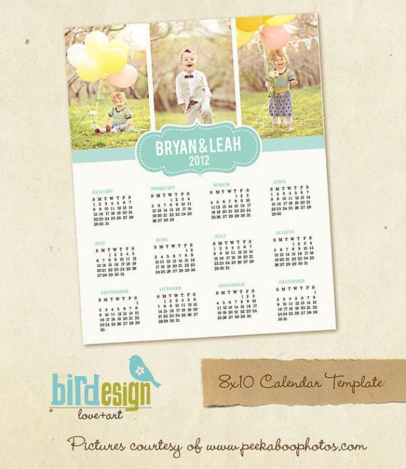 Instant Download 8x10 Calendar Template 2013 Bryan Por Birdesign