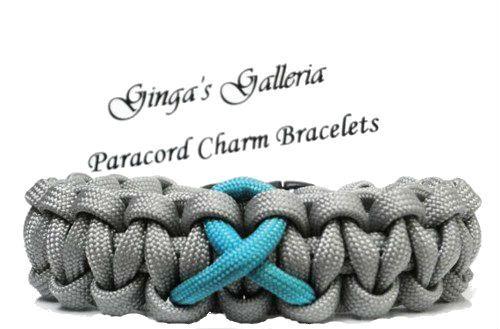 Ovarian Cancer Teal Awareness Ribbon 550 Paracord Bracelet