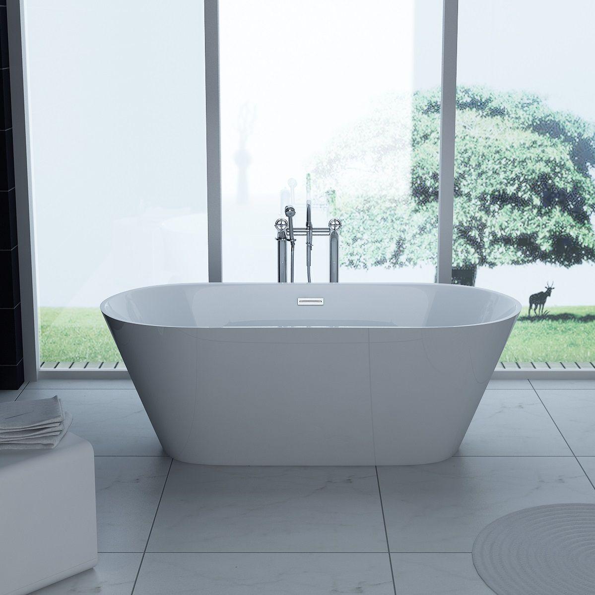 Lugano / Lugio Thin Edge Modern Double Ended Freestanding Bath ...