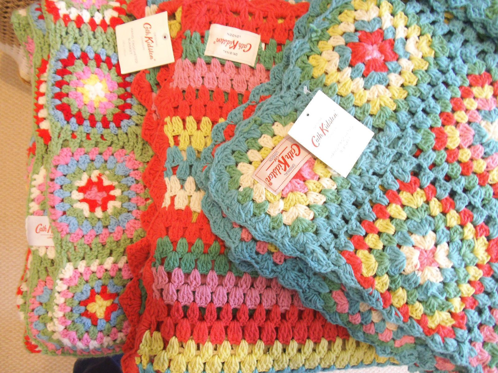 Hand crocheted Granny square THROW or BLANKET + handmade Cath ...