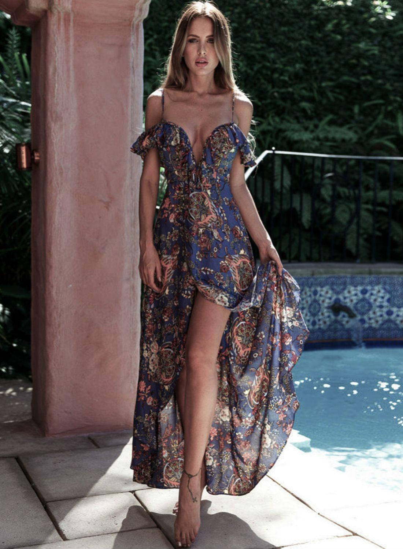 Womenus bohemian v neck ruffle high slit irregular maxi dress
