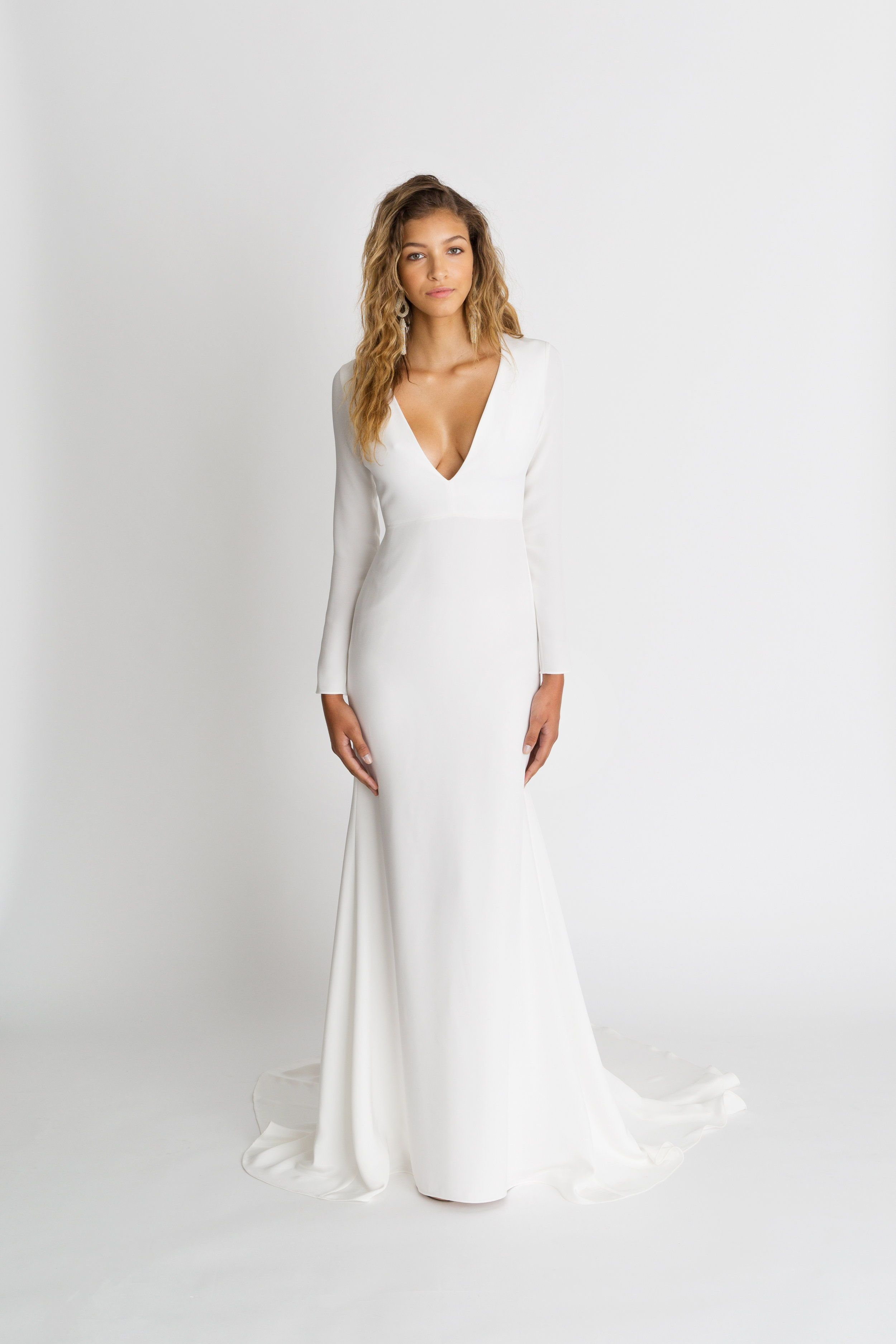 Celine By Alexandra Grecco Magic Hour Collection The Celine Gown Is A Sleek Silk Crepe S Sleek Wedding Dress Wedding Dress Long Sleeve Modern Wedding Dress