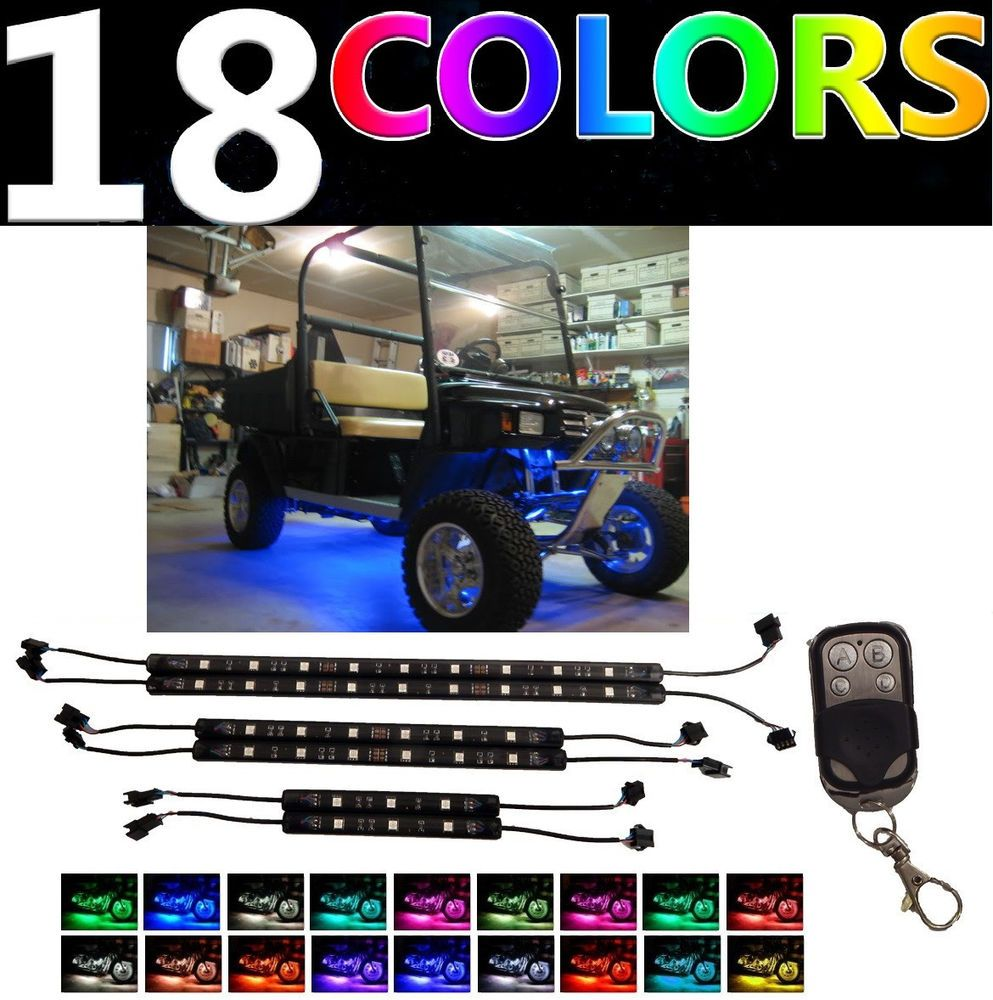 Color Changing Ezgo Rxv Txt Golf Cart Neon Led Underglow Light Kit W Remote 12v Golf Carts Custom Golf Carts Custom Golf