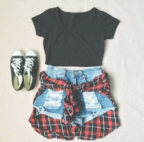 Shredded Mini Blue Denim Shorts Cute Summer Outfits Clothes