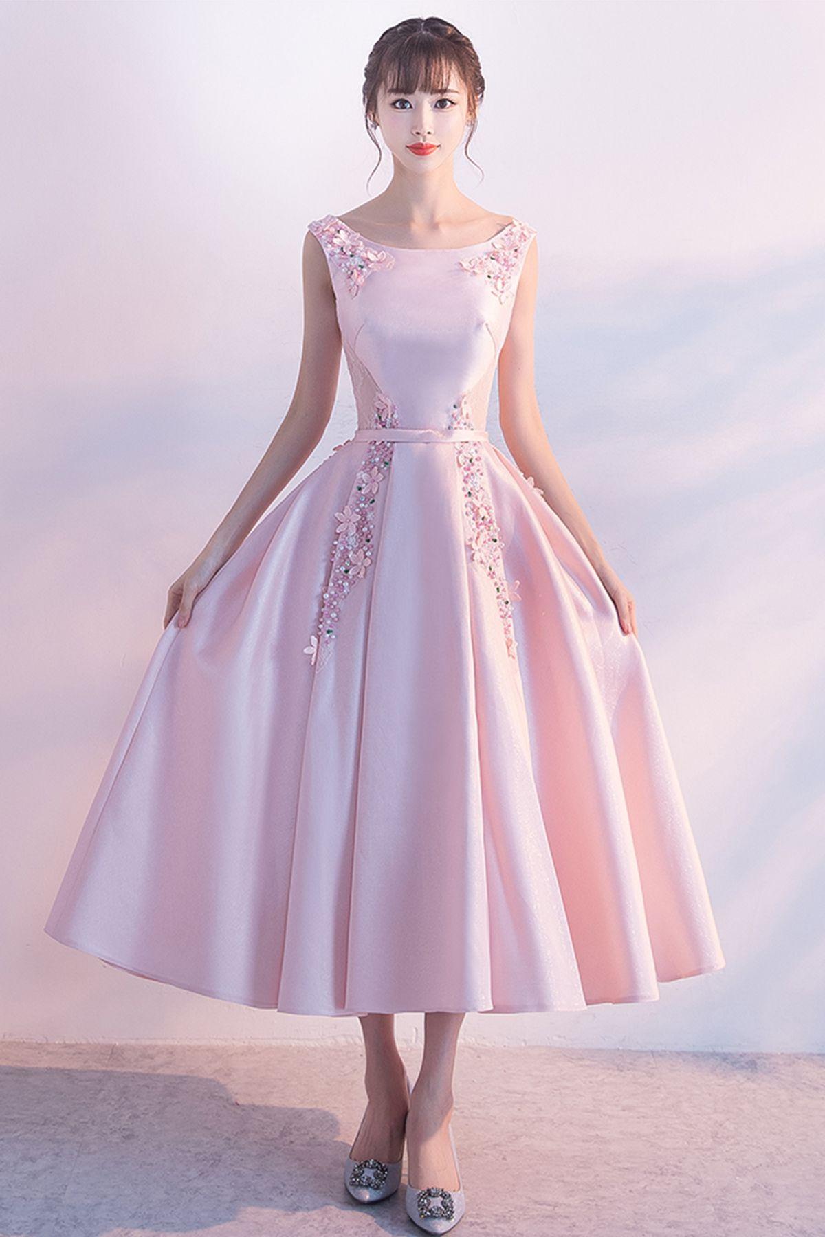 5b0e7f4f530 Elegant pink satin mid length bridesmaid dress
